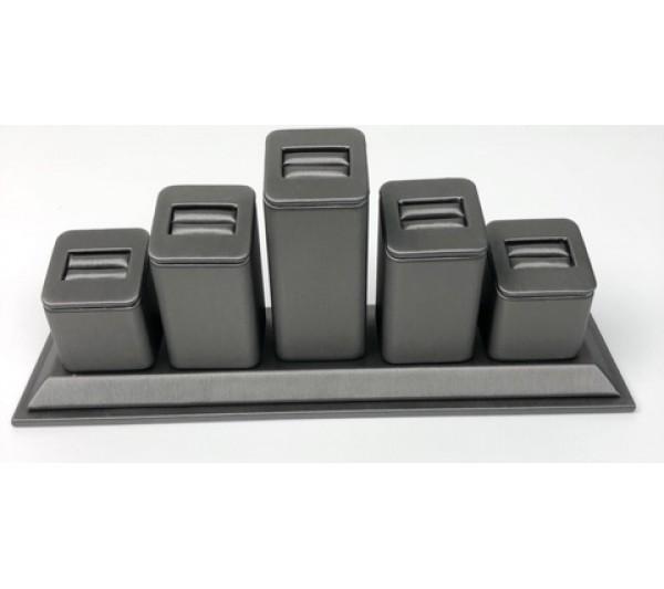 "Steel Grey  5-Slot Ring, 9 3/4"" x 2 3/4"" x 3 7/8"" H"