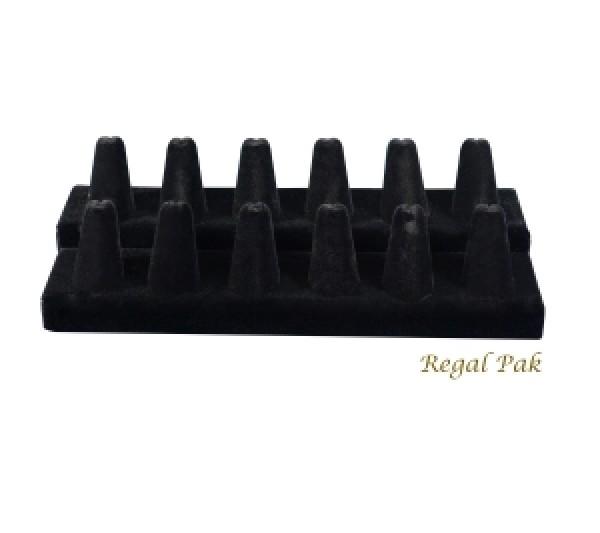 """Black Velvet 12-Finger Ring Holder 8-1/4"""" X 3-1/4"""" X 2-1/2""""H"""