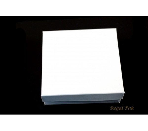Glossy White Cotton Filled Paper Box 3 1/2