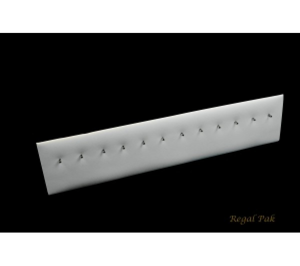 """White Leatherette Body Jewelry Stand (12-Hook) 12"""" X 1 5/8"""" X 2 5/8""""H"""