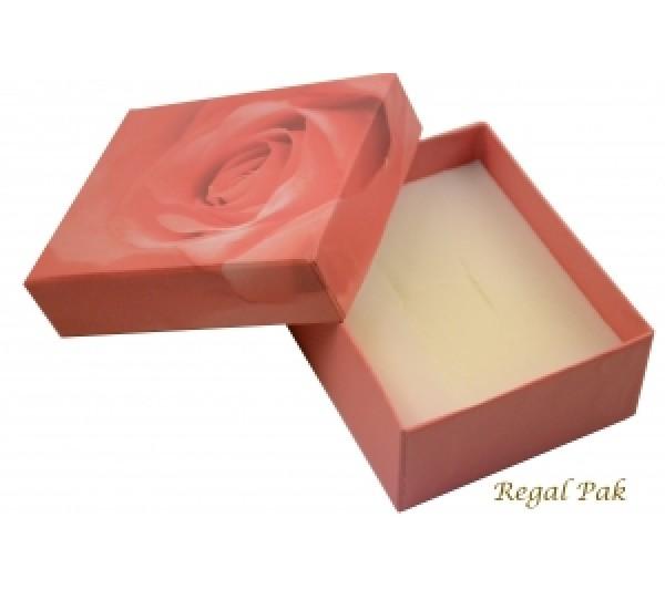 Pink Rose Pattern Paper Pendant/Ring Box 2 3/4