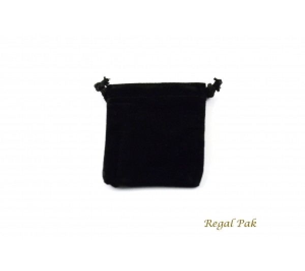 "Black Velvet Drawstring Pouch 2 3/4"" X 3"" (12 Pieces/One Dozen)"