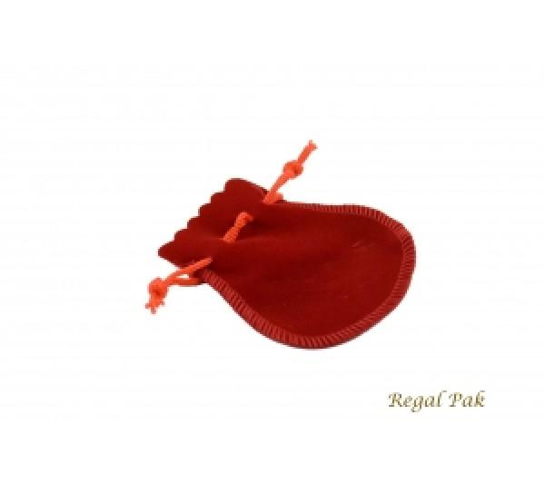 """Red Medium Velveteen  Drawstring Teardrop Pouch 2 3/4"""" X 2 1/2"""" (12 Pieces/One Dozen)"""