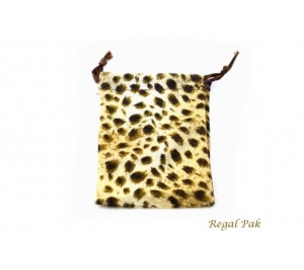 """Velveteen Leopard Drawstring Pouch 3"""" X 4"""" (12 Pieces/One Dozen)"""