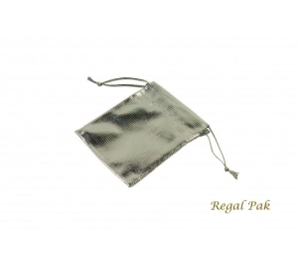 """Metallic Silver Stripe drawstring pouches 1 3/4""""x2"""" one dozen"""