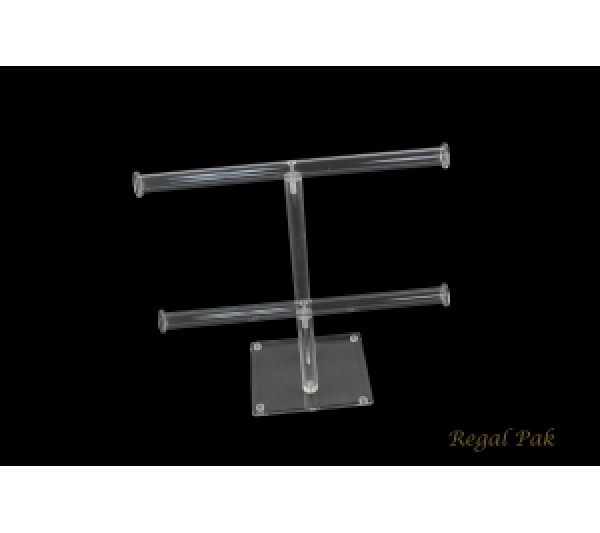 "Acrylic Dual T-Bar (Double Round) For Necklace And Bracelet Display 10""W X 9 3/4""H"