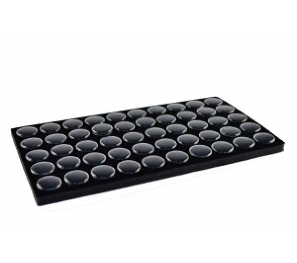 """Black Foam W/ 50 Small Jars 14 1/4"""" X 7 3/4"""" X 3/4""""H; 1 1/8""""Dia Jar"""