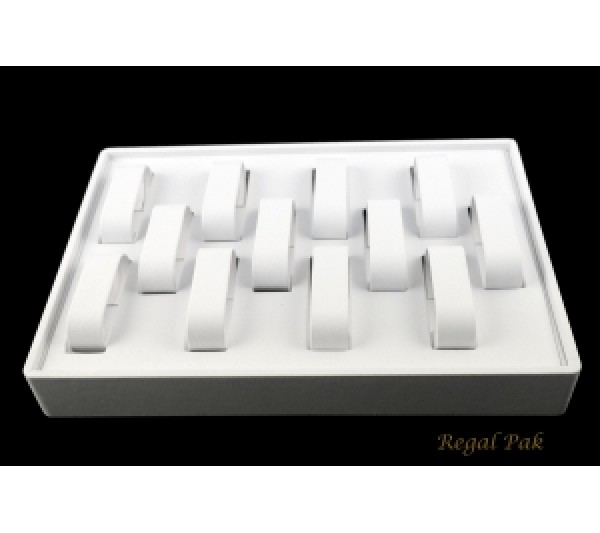 "White Stackable Watch Tray (12-Collar) 12-1/2"" X 8-3/4"" X 1-7/8""H"