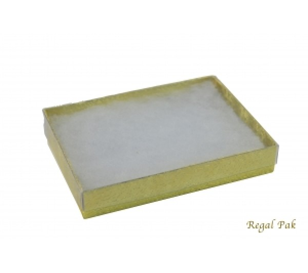 Gold Texture View-Top Cotton Filled Paper Box  5 3/8