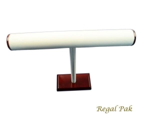 """White Leatherette With Rosewood Trim T-Bar For Necklace Display 12"""" X 12""""H"""