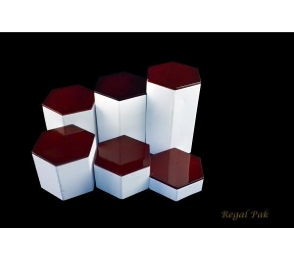 """Wood Top Leatherette Hexagon Riser Set (6 Pcs) 6 1/8""""Diag X 1""""~ 6""""H"""