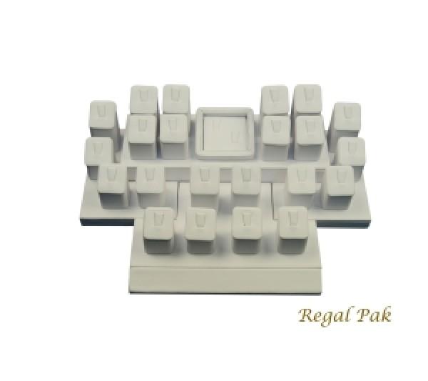 "White Leatherette Mini Display Set (24-Ring) 12"" X 8-1/4"" X 3-1/2""H"