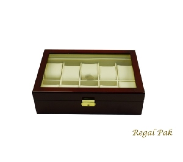 """Elegant Rosewood Glasstop Watch Case With Suede Inserts (10-Watch) 11 5/8"""" X 8"""" X 3 1/4""""H"""