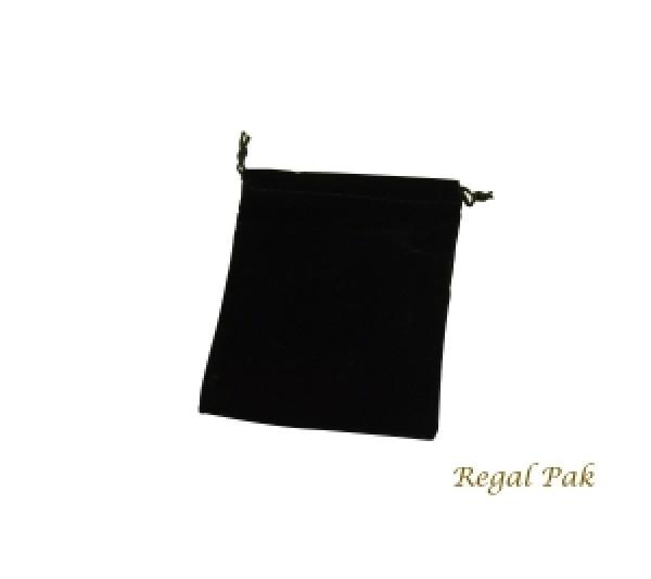 """Black Velveteen Drawstring Pouch 4"""" X 5"""" (12 Pieces/One Dozen)"""
