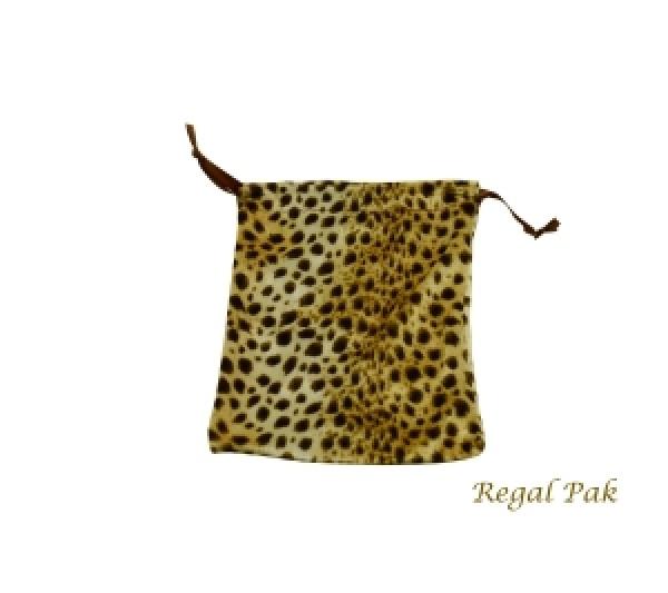 """Leopard Velveteen Drawstring Pouch 5""""X6"""" (12 Pieces/One Dozen)"""