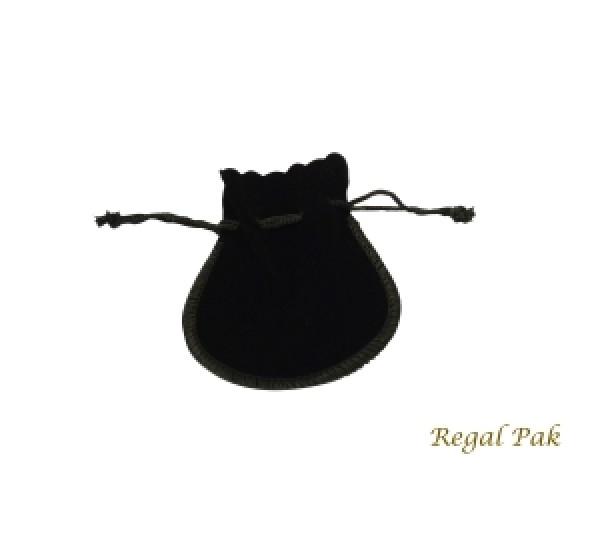 "Large Black Velveteen  Drawstring Teardrop Pouch 3 1/2"" X 3"" (12 Pieces/One Dozen)"