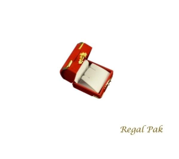 Charlestone Collection Flocked Gilt Corner Red Earring Box 2 1/8