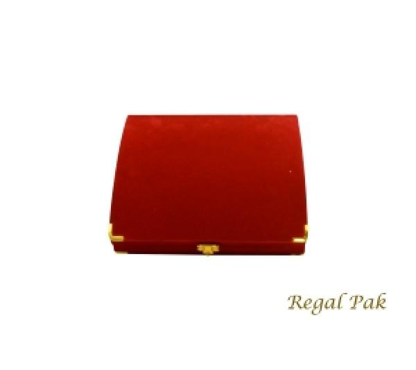 Charlestone Collection Flocked Gilt Corner Red Necklace Box 7 1/2
