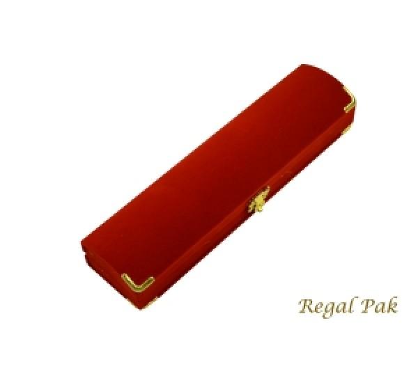 Charlestone Collection Flocked Gilt Corner Red Bracelet Box 8 3/4