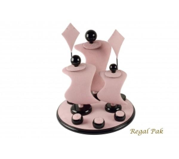 "Pink Suede With Black Trim Display Set (9 Pcs) 13"" X 13"" X 14-1/2""H"