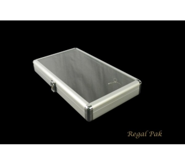 """Aluminum Case with Glass Top and Locker 14-3/4"""" X 8-1/4"""" X 2-1/8""""H"""