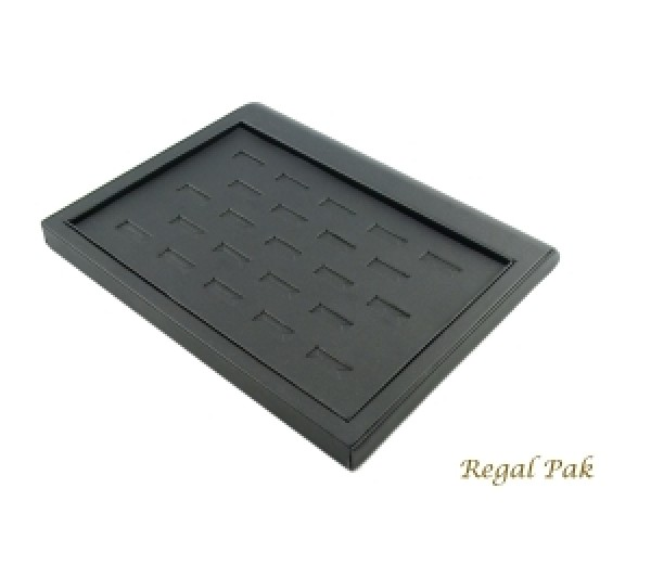 "Black Leatherette Ring Tray Display (23 Ring) 9-3/8"" X 7-3/8"" X 7/8""H"