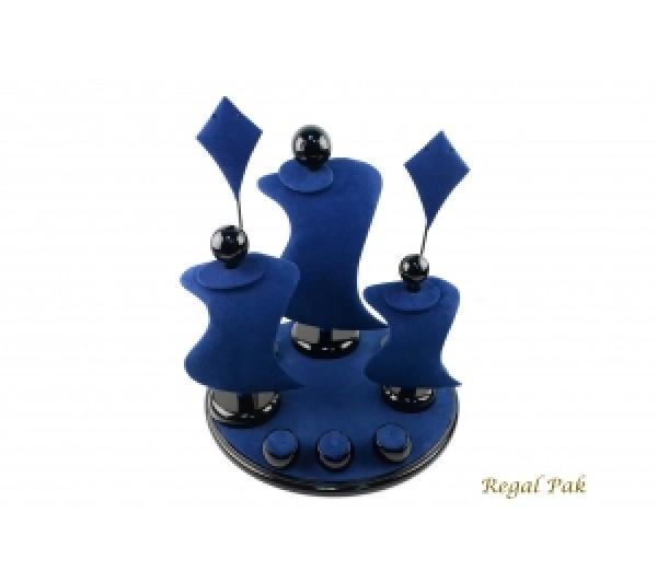"Blue Suede With Black Trim Display Set ( 9-Pcs) 13"" X 13"" X 14-1/2""H"