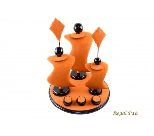 "Elegant Orange Suede With Black Trim Display Set (9 Pcs) 13"" X 13"" X 14-1/2""H"