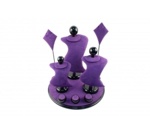 "Purple Suede With Black Trim Display Set ( 9-Pcs) 13"" X 13"" X 14-1/2""H"