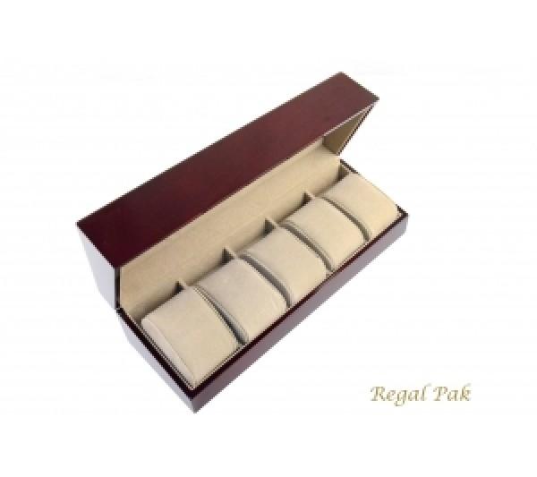 "Elegant Rosewood 5-Watch Case With Slant Open 11 3/4"" X 4"" X 3 3/8""H"