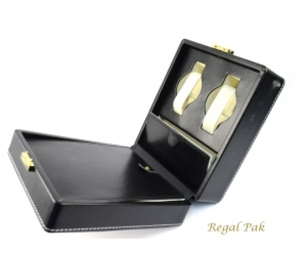 """Black Leatherette Watch/Ring Case (4-Watch) 6 7/8"""" X 8"""" X 3 3/8""""H"""