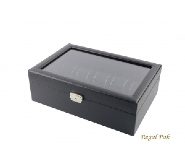 """Poly Textured Glasstop Watch Case With Black Suede Inserts (10-Watch) 11 5/8"""" X 8"""" X 3 1/4""""H"""