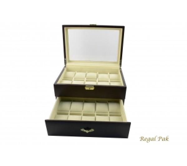 "Elegant Glasstop Watch Case With Suede Inserts (20-Watch) 11 5/8"" X 8"" X 5 1/2""H"
