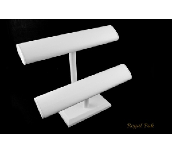 "White Leatherette 2-Level Oval Shape T-Bar 12"" X 5-1/2""D X 10""H"