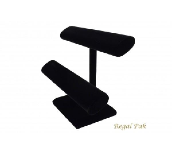"""Black Velvet 2-Level Oval Shape T-Bar 12"""" X 5-1/2""""D X 10""""H"""