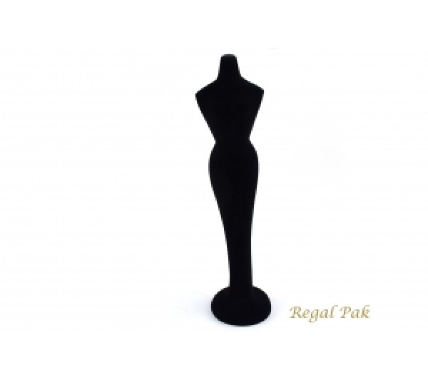 "Black Flocked Poly Figure Display 3"" X 3"" X 11-5/8""H"