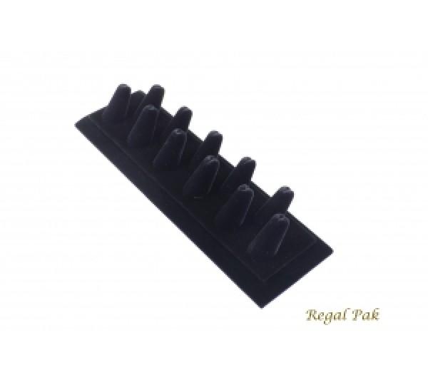 """Black Velvet 11-Finger Ring Holder 11 1/8"""" X 3 3/8"""" X 2 1/8""""H"""