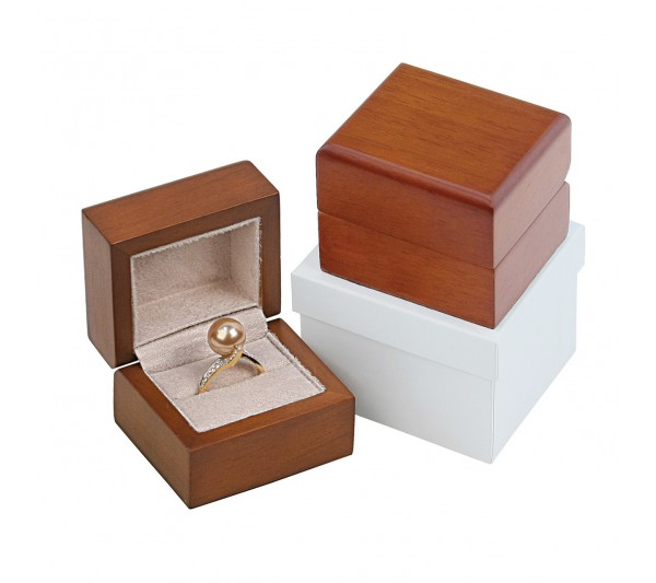 "Brown hardwood with Tan Suede interior, Ring Box 2 3/8"" x 2"" x 1 7/8"" H"