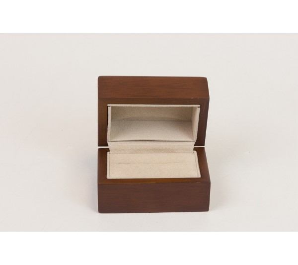 "Brown hardwood with Tan Suede interior ,Double Box  3"" x 2"" x 1 7/ 8"" H"