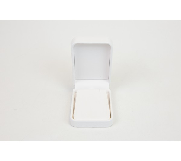 Austin Collection White Leatherette, Pendant Box 2 3/4' x 4' x 1 3/8' H