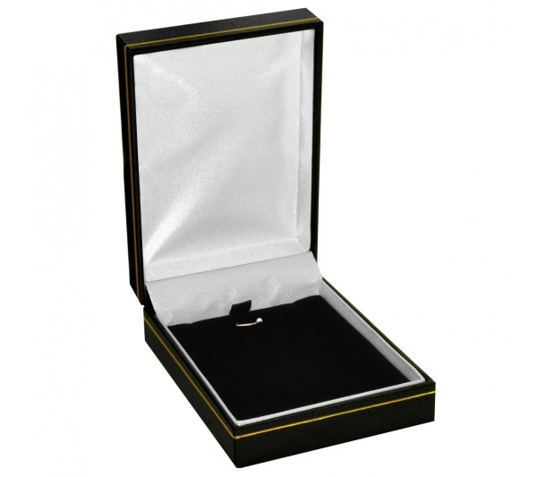 "Classic Black  Leatherette with Gold Trim,  Pendant Box 2 3/4"" x 3 1/4"" x 1 1/4""H"