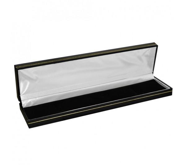 "Classic Black  Leatherette with Gold Trim,  Bracelet Box 8 5/8"" x 2 1/8"" x 1"" H"