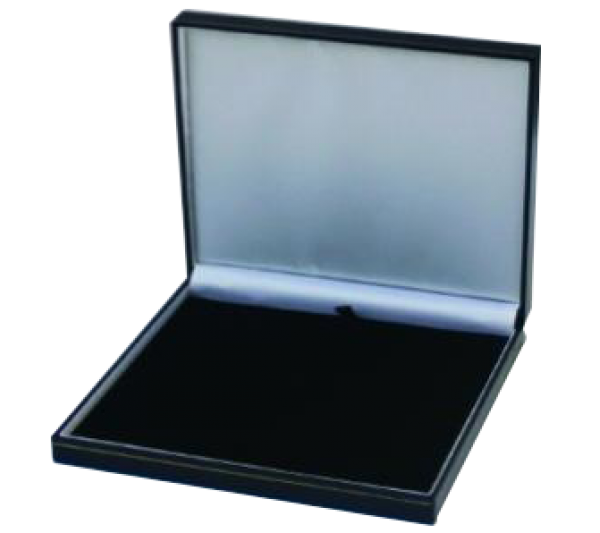 "Classic Black  Leatherette with Gold Trim,  Necklace Box 7 1/2"" x 7 5/8"" x 1 1/2"" H"