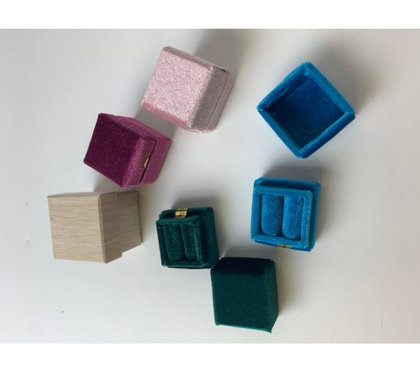 """Mix color Small ring box(assorted valvet)square-1 1/4"""""""