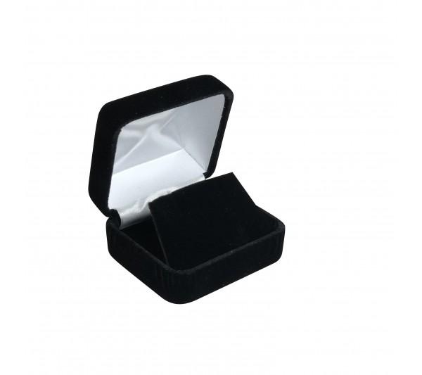 "Richmond Collection Black Velvet Metal Earring Box 2 1/8"" x 1 7/8"" x 1 1/4""H"