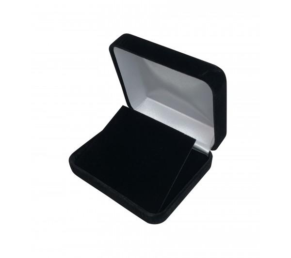 "Black Velvet Metal EARRING/PENDANT Box-  4""( L)  x 3 1/4"" W x 1 1/4"" H"