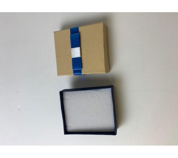 "Tan/Blue ribbon PENDANT box 2 1/2""x2 7/8""x3/4""H"