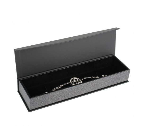 "Metallic Grey w/ Black insert  Bracelet box , 8 5/8"" x 2 3/8"" x 1 1/4"" H"