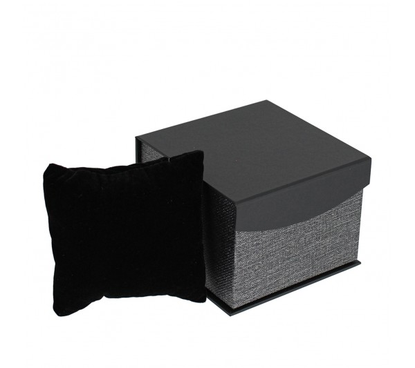 "Metallic Grey w/ Black insert Watch/ bangle  box , 3 1/2"" x 3 5/8"" x 1 5/8"" H"