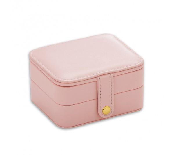 "Pink  Small Jewelry Travel Organizer Storage box, 4 1/4"" L x 3 1/2"" W x 2 3/8"" H"